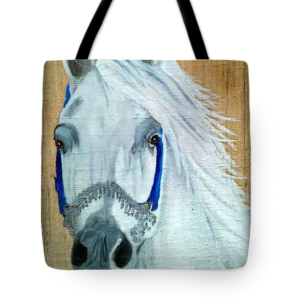 Arabian Tote Bag featuring the painting White Arabian by Debbie LaFrance