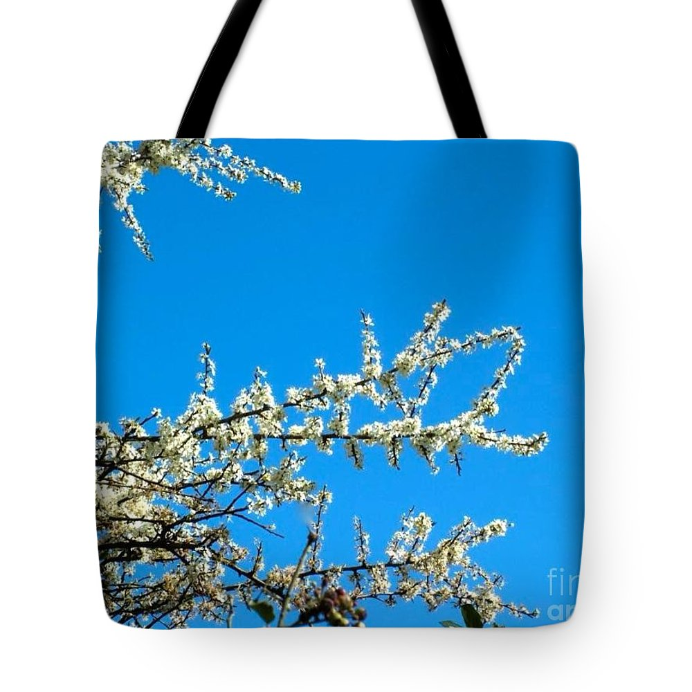 White Blossoms Tote Bag featuring the photograph White Blossoms Blue Sky by Joan-Violet Stretch