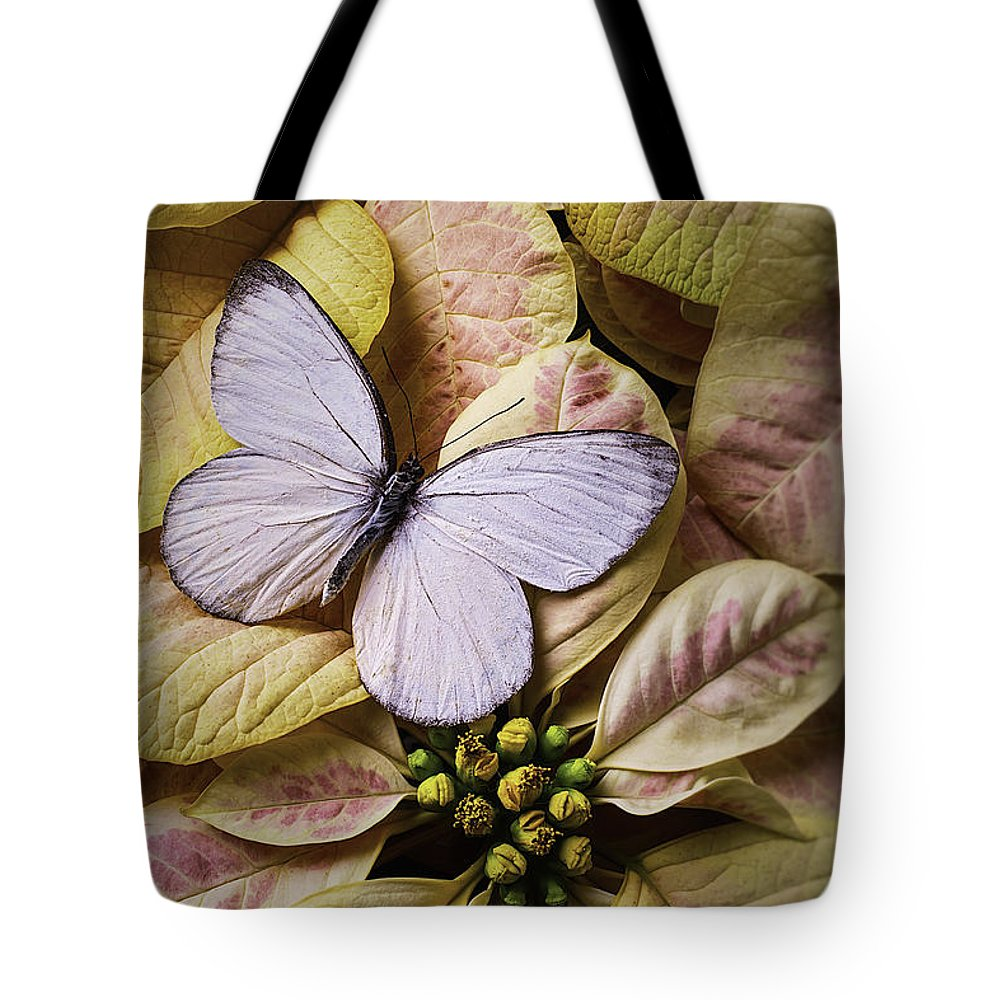 White Tote Bag featuring the photograph White Butterfly On Poinsettia by Garry Gay