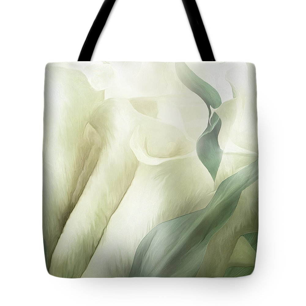 Calla Lily Tote Bag featuring the mixed media White Calla Moods by Carol Cavalaris