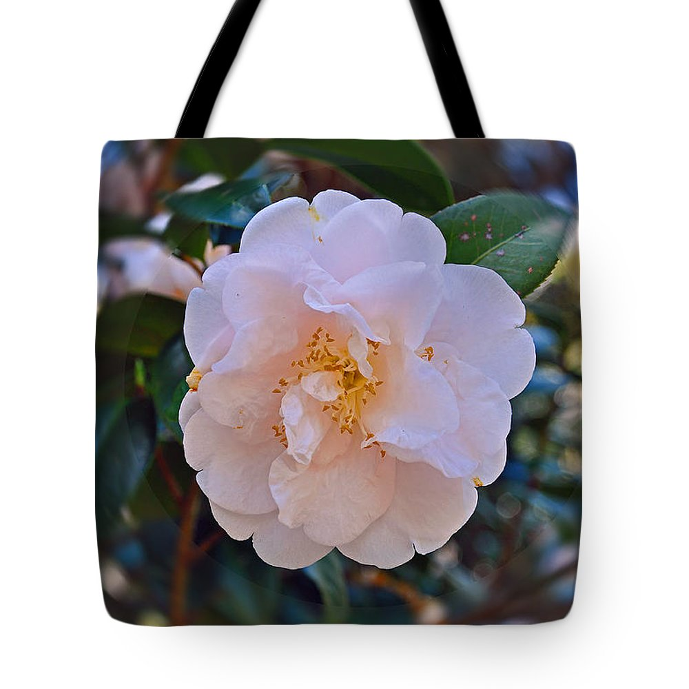 Floral Tote Bag featuring the photograph White Camellia by Deborah Good