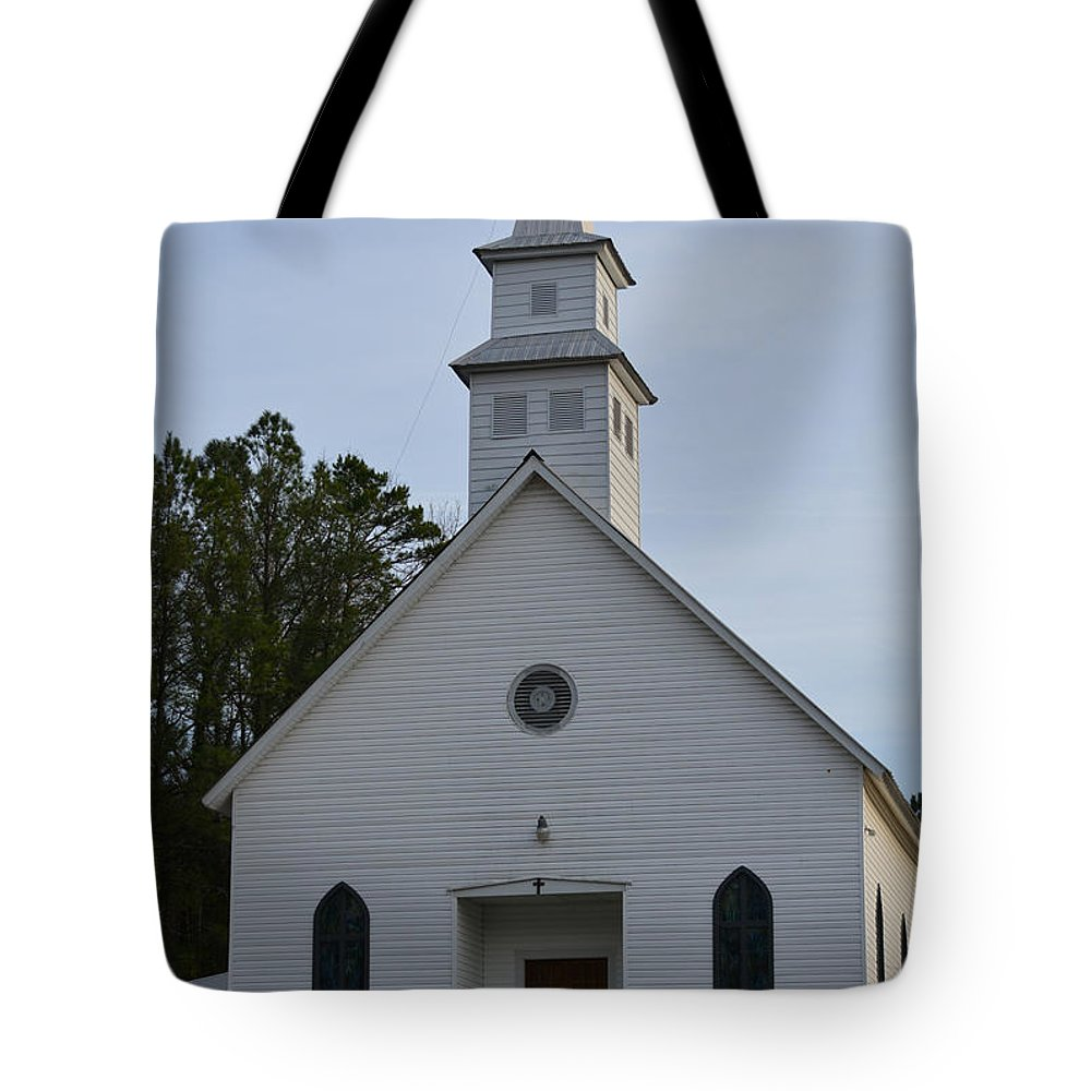 Stained Glass Tote Bag featuring the photograph White Country Church Series Photo A by Barb Dalton