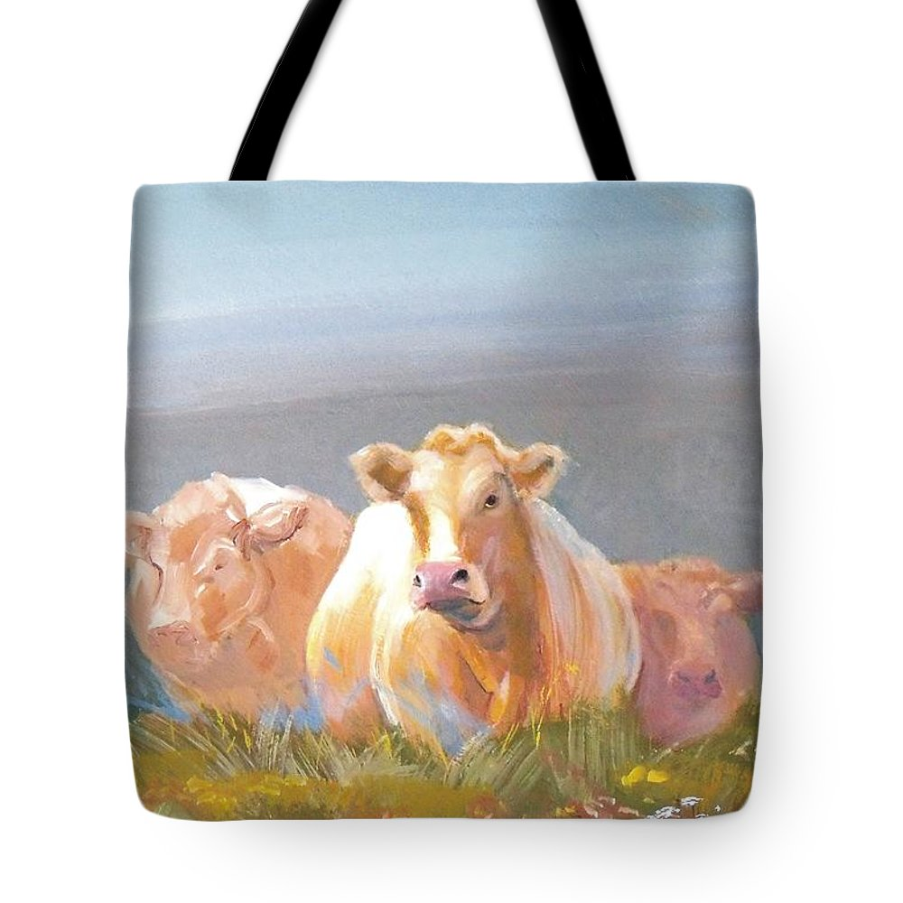 Cow Tote Bag featuring the painting White Cows Painting by Mike Jory