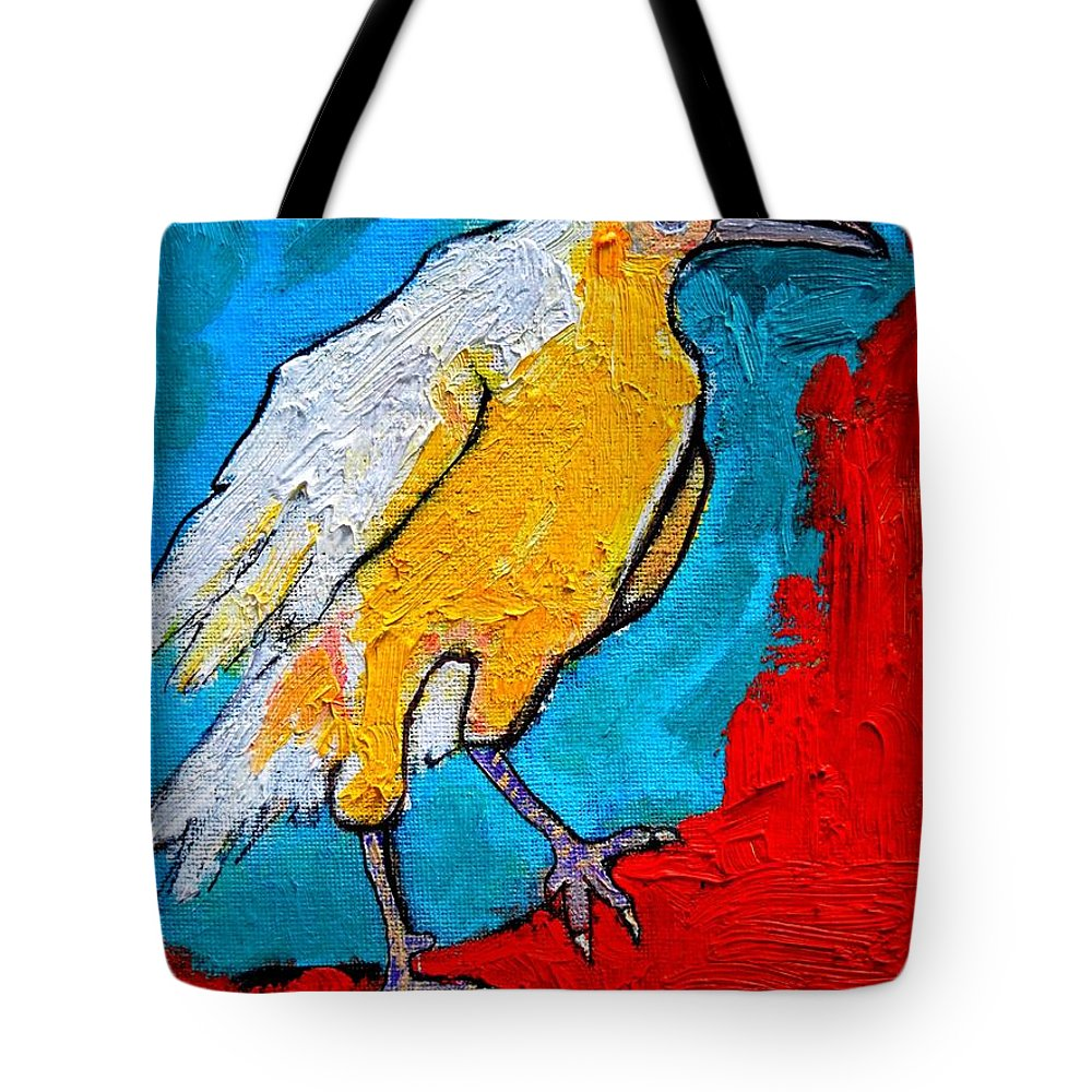Crow Tote Bag featuring the painting White Crow by Ana Maria Edulescu