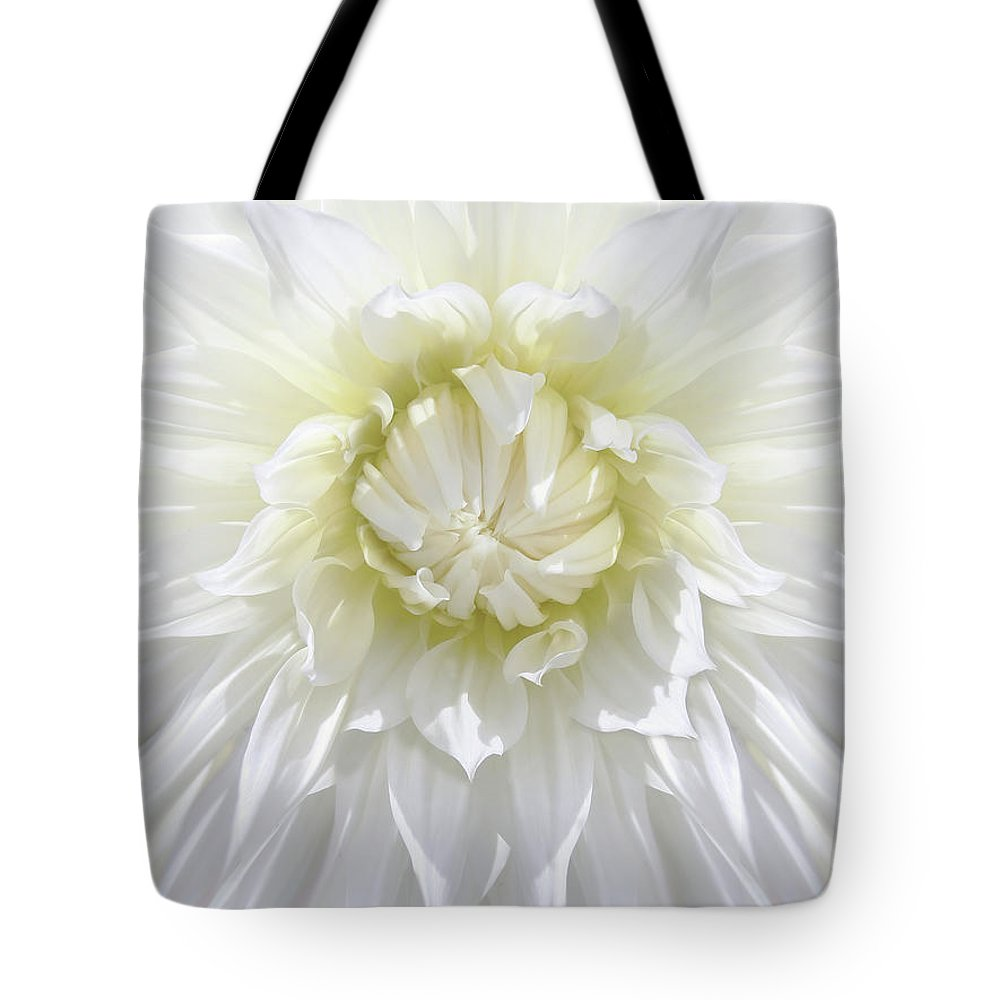 Dahlia Tote Bag featuring the photograph White Dahlia Floral Delight by Jennie Marie Schell