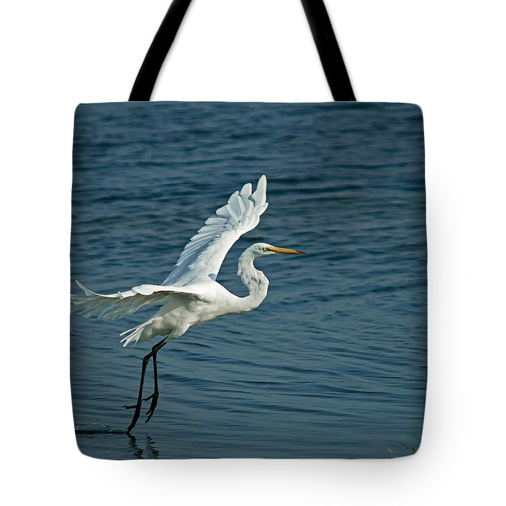 Birds Tote Bag featuring the digital art White Egret Landing by Ernie Echols