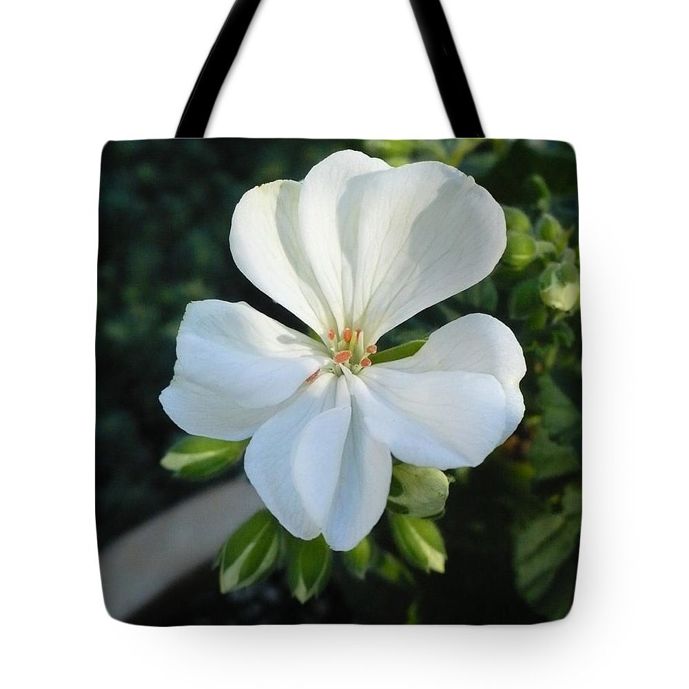 White Tote Bag featuring the photograph White Geranium by Nicki Bennett