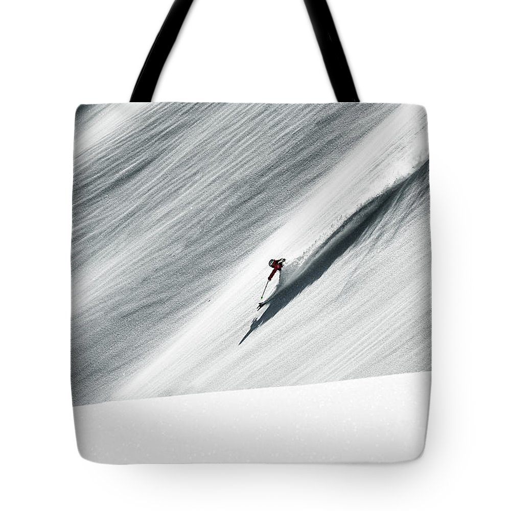 Skiing Tote Bag featuring the photograph White Gold by Andre Schoenherr