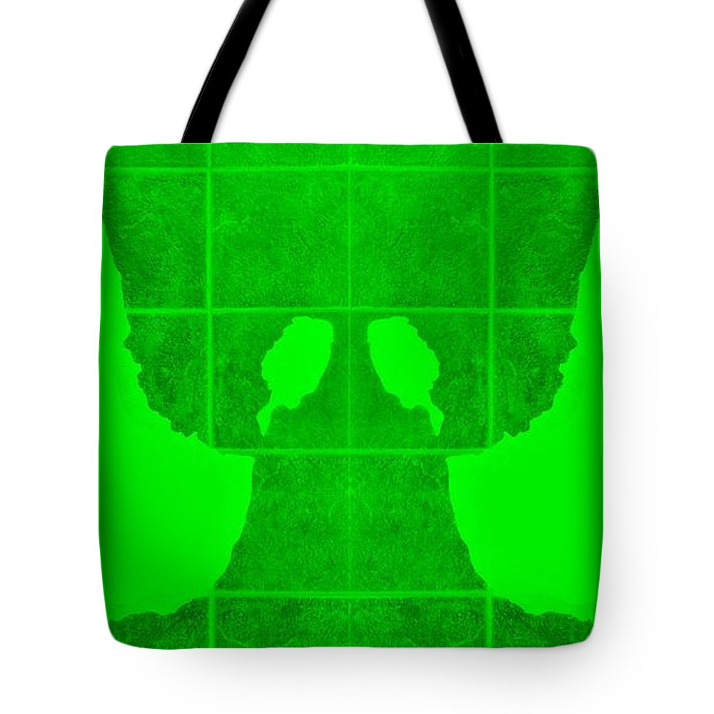 Hand Tote Bag featuring the photograph White Hands Green by Rob Hans