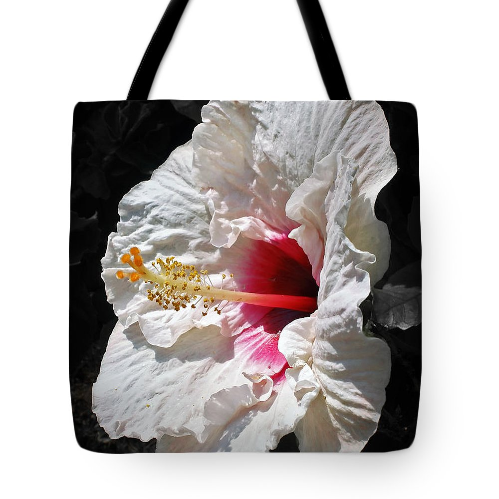 Photography Tote Bag featuring the photograph White Hibiscus by Kaye Menner