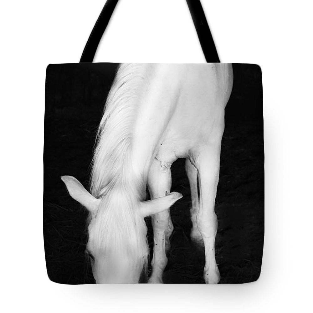 Horse Tote Bag featuring the photograph White Horse by Gina Dsgn