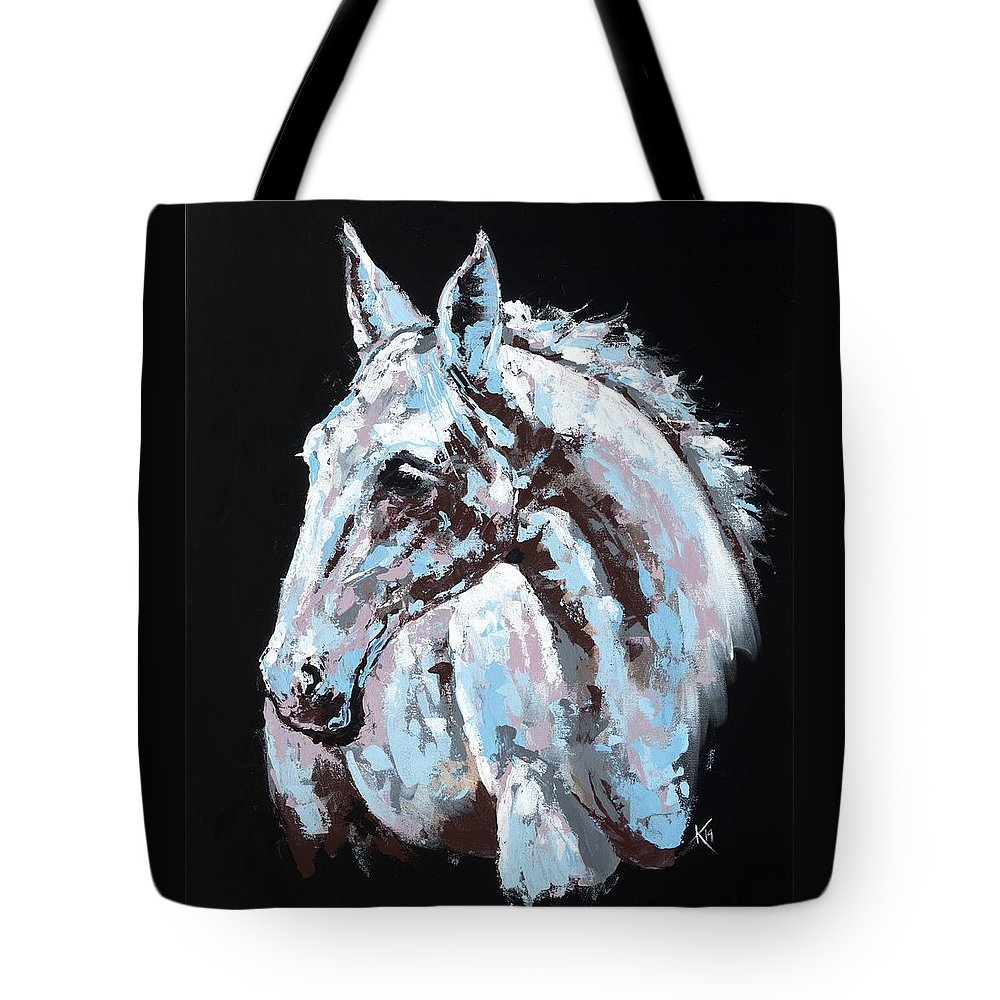 Abstract Horse Tote Bag featuring the painting White Horse by Konni Jensen