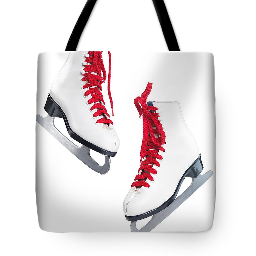 Ice Skates For Sale >> White Ice Skates With Red Laces Tote Bag