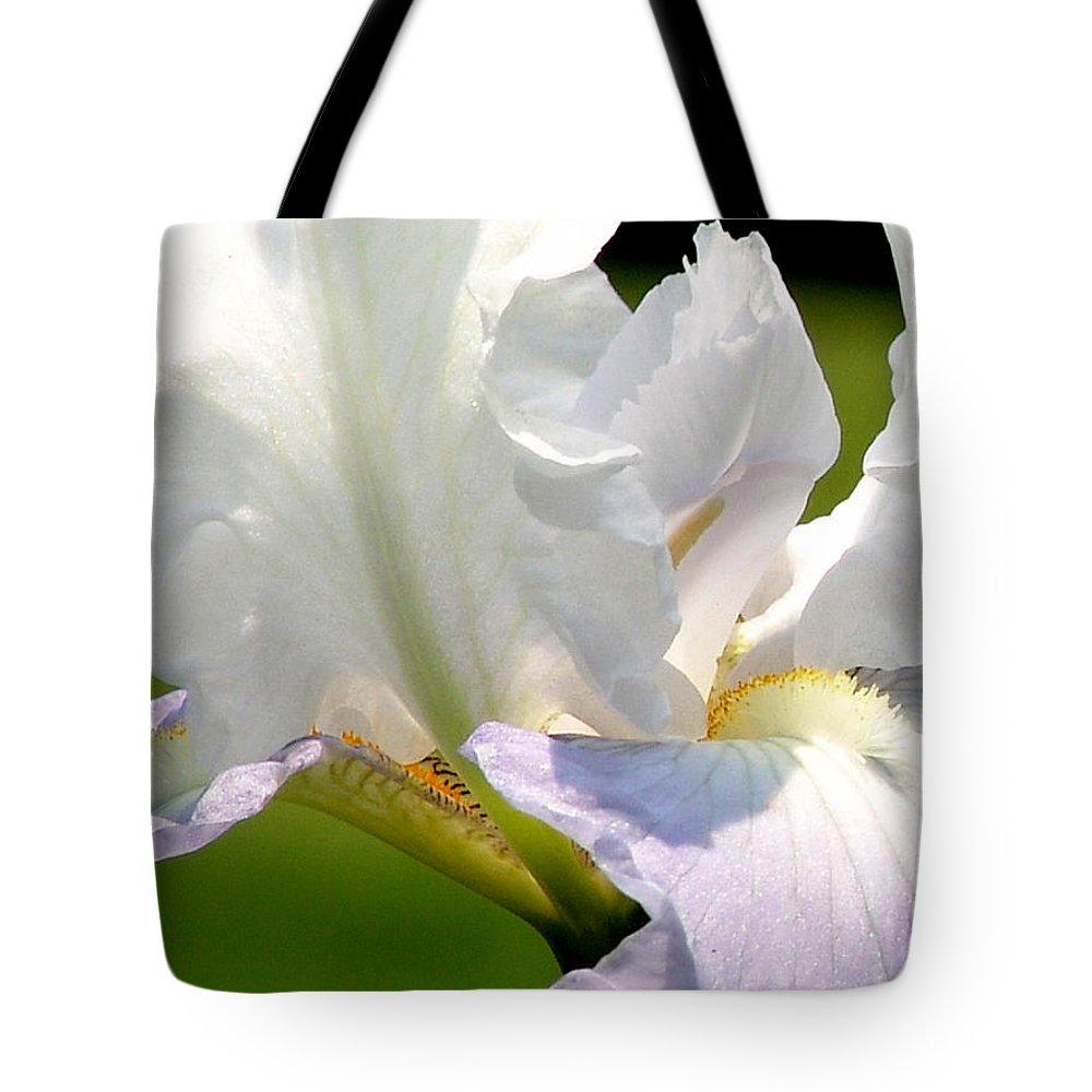 White Tote Bag featuring the photograph White Iris by David Hohmann