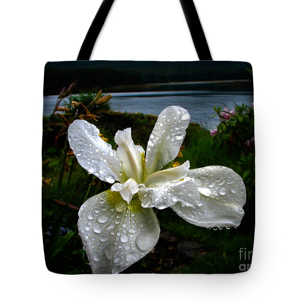 Iris Tote Bag featuring the photograph White Iris by Robert Bales