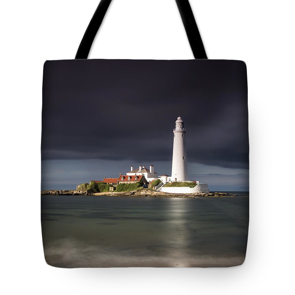 Building Tote Bag featuring the photograph White Lighthouse Illuminated By by John Short