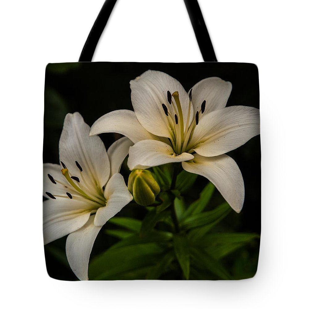 Flower Tote Bag featuring the photograph White Lilies by Davorin Mance
