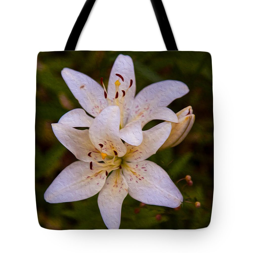 North Cascades Tote Bag featuring the painting White Lily Starburst by Omaste Witkowski