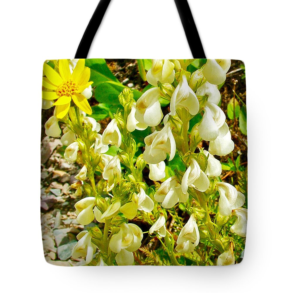 White Locoweed On Highline Trail In Glacier National Park Tote Bag featuring the photograph White Locoweed On Highline Trail In Glacier National Park-montana by Ruth Hager