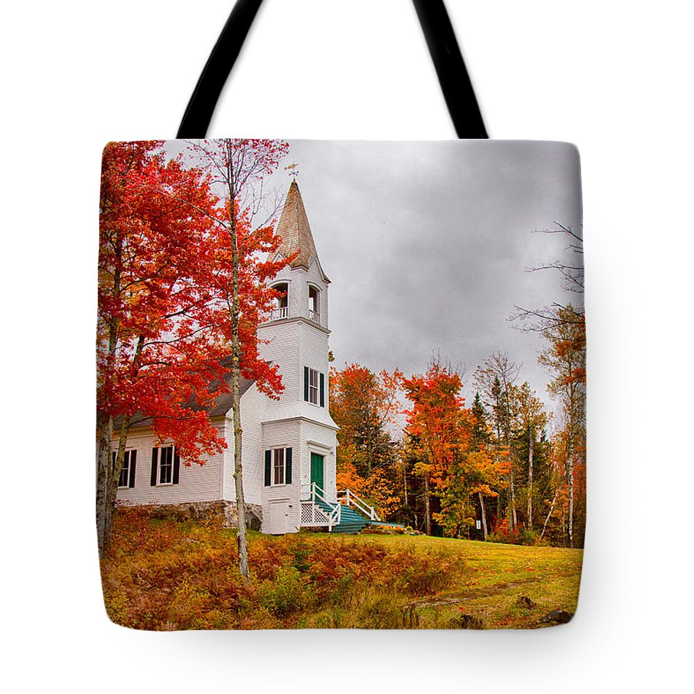 Autumn Foliage New England Tote Bag featuring the photograph White New Hampshire Church by Jeff Folger