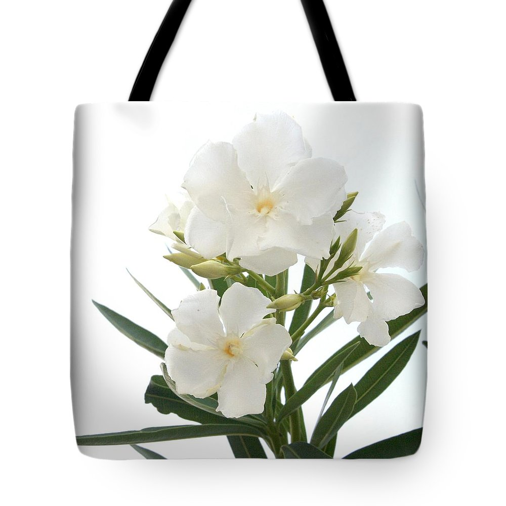 White Oleander Flowers Close Up Isolated On White Background Tote