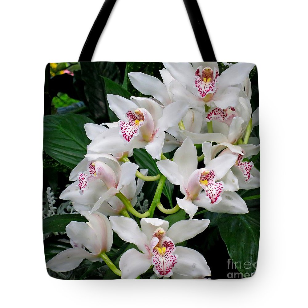 Orchid Tote Bag featuring the photograph White Orchid In Full Bloom by Lena Photo Art
