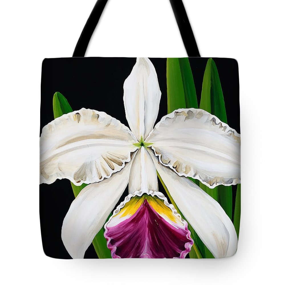 Orchids Tote Bag featuring the painting White Orchid by Linda Rauch