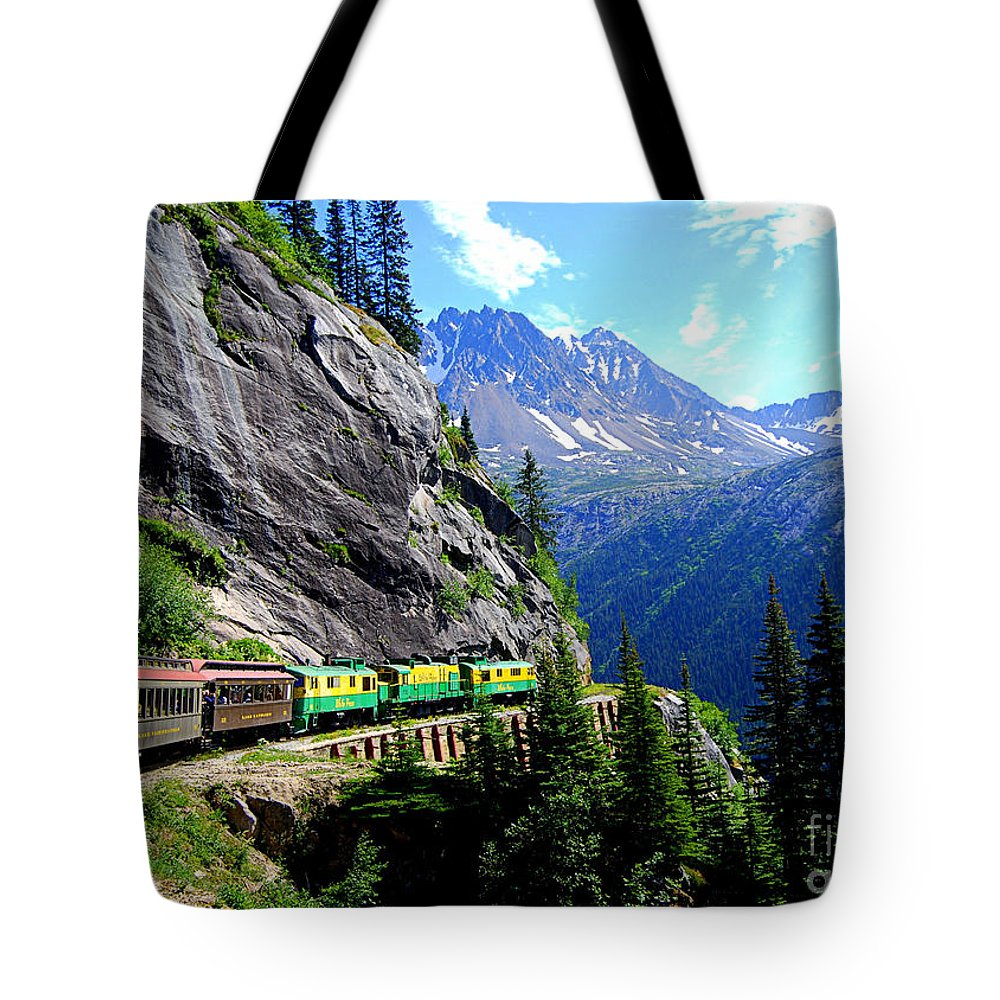 The White Pass & Yukon Route Railway Tote Bag featuring the photograph White Pass And Yukon Route Railway In Canada by Catherine Sherman