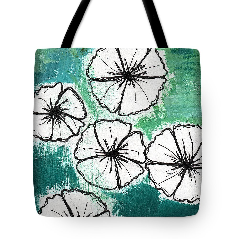 Flowers Tote Bag featuring the painting White Petunias- Floral Abstract Painting by Linda Woods