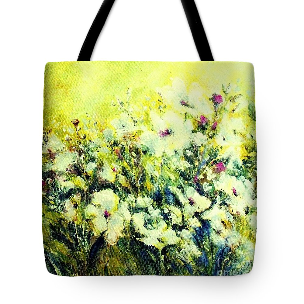 Flowers Tote Bag featuring the painting White Poppy Garden by Madeleine Holzberg