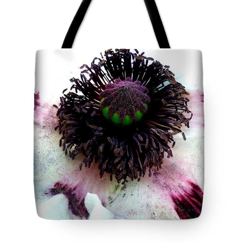 White Tote Bag featuring the photograph White Poppy Macro by The Creative Minds Art and Photography