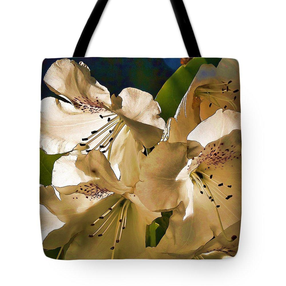 White Rhododendron Tote Bag featuring the photograph White Rhododendron by Wes and Dotty Weber