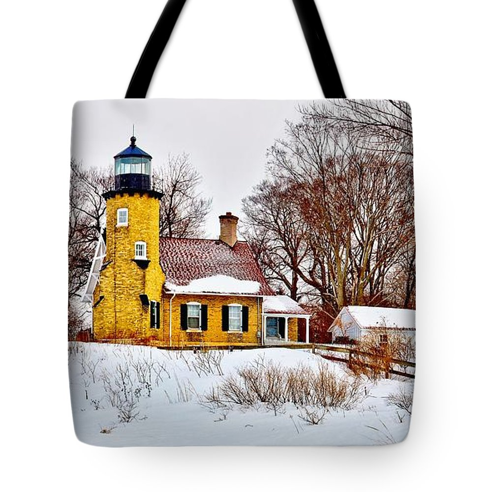 Panoramic Tote Bag featuring the photograph White River Winter Panoramic by Nick Zelinsky