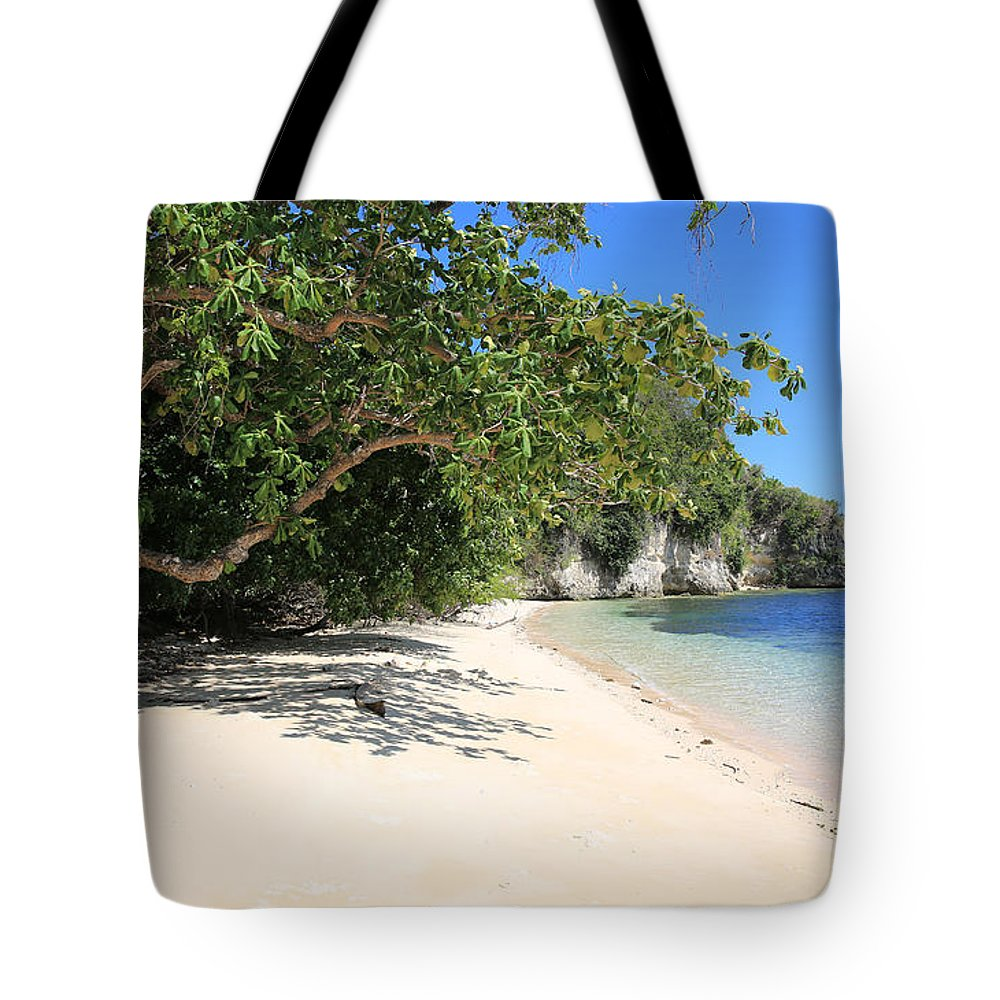 White Sand Tote Bag featuring the photograph White Sand And Blue Sky by Paul Ranky