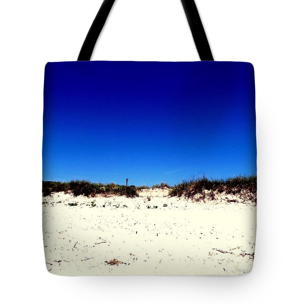Sea Tote Bag featuring the photograph White Sand Blue Skies by Rebecca Malo