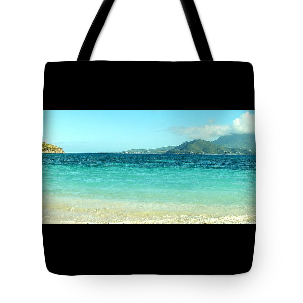 St Kitts Tote Bag featuring the photograph White Sand Blue Sky Blue Water by Ian MacDonald