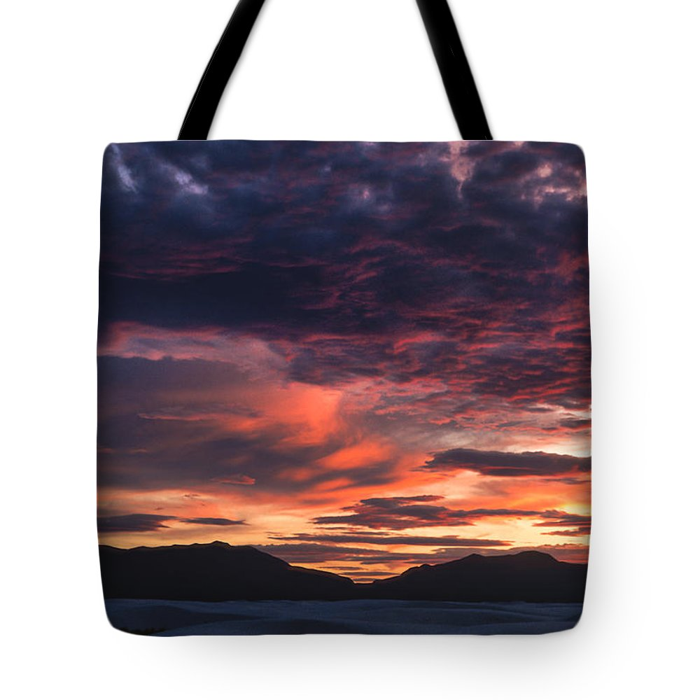White Sands Tote Bag featuring the photograph White Sands Sunset by Sandra Bronstein