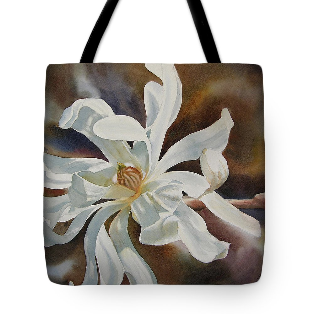 Magnolia Tote Bag featuring the painting White Star Magnolia Blossom by Sharon Freeman