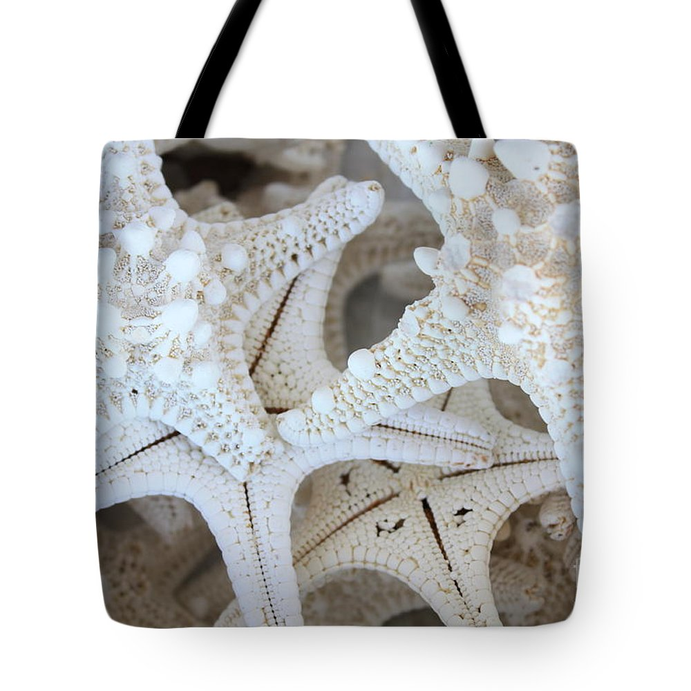 White Tote Bag featuring the photograph White Starfish by Carol Groenen