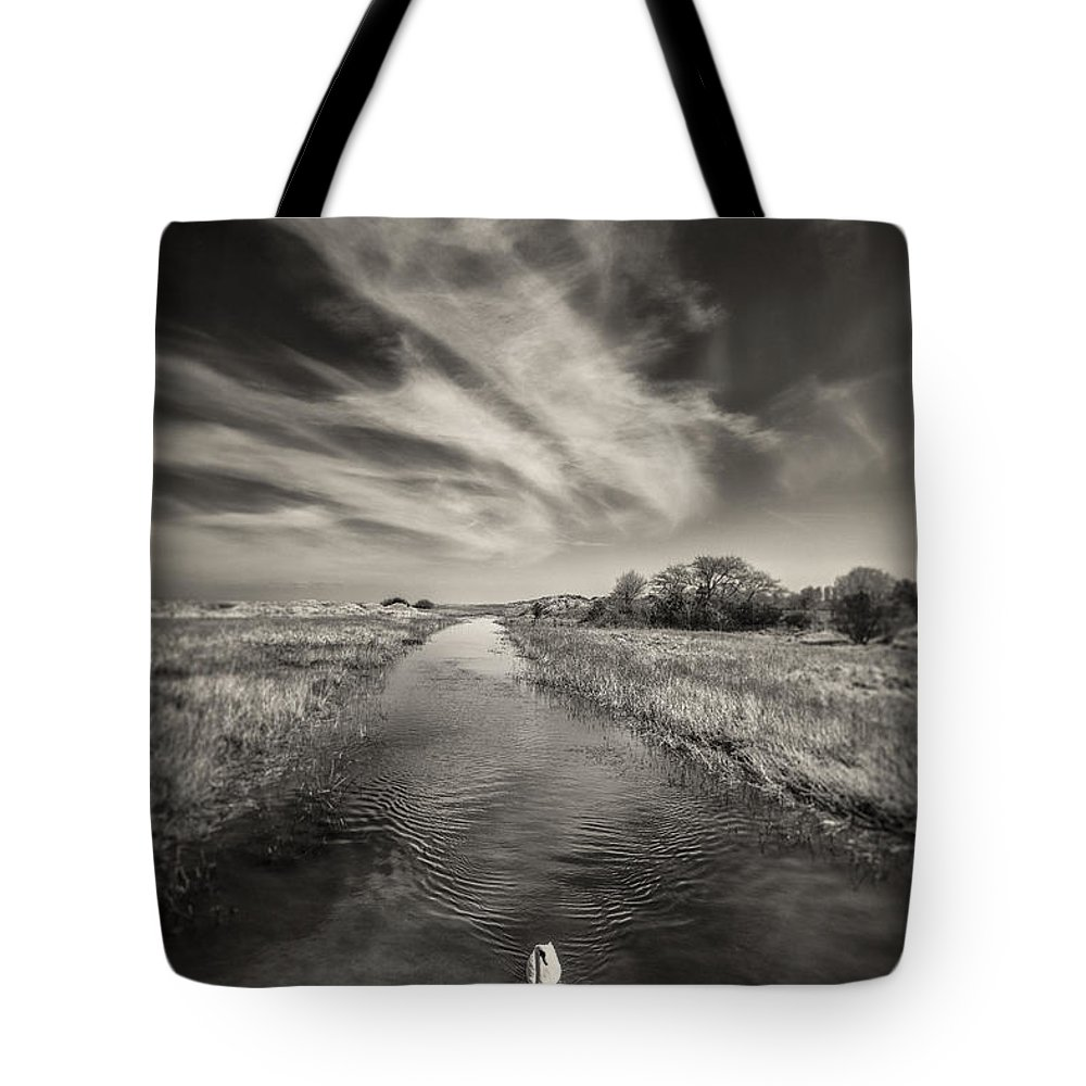 White Swan Tote Bag featuring the photograph White Swan by Dave Bowman