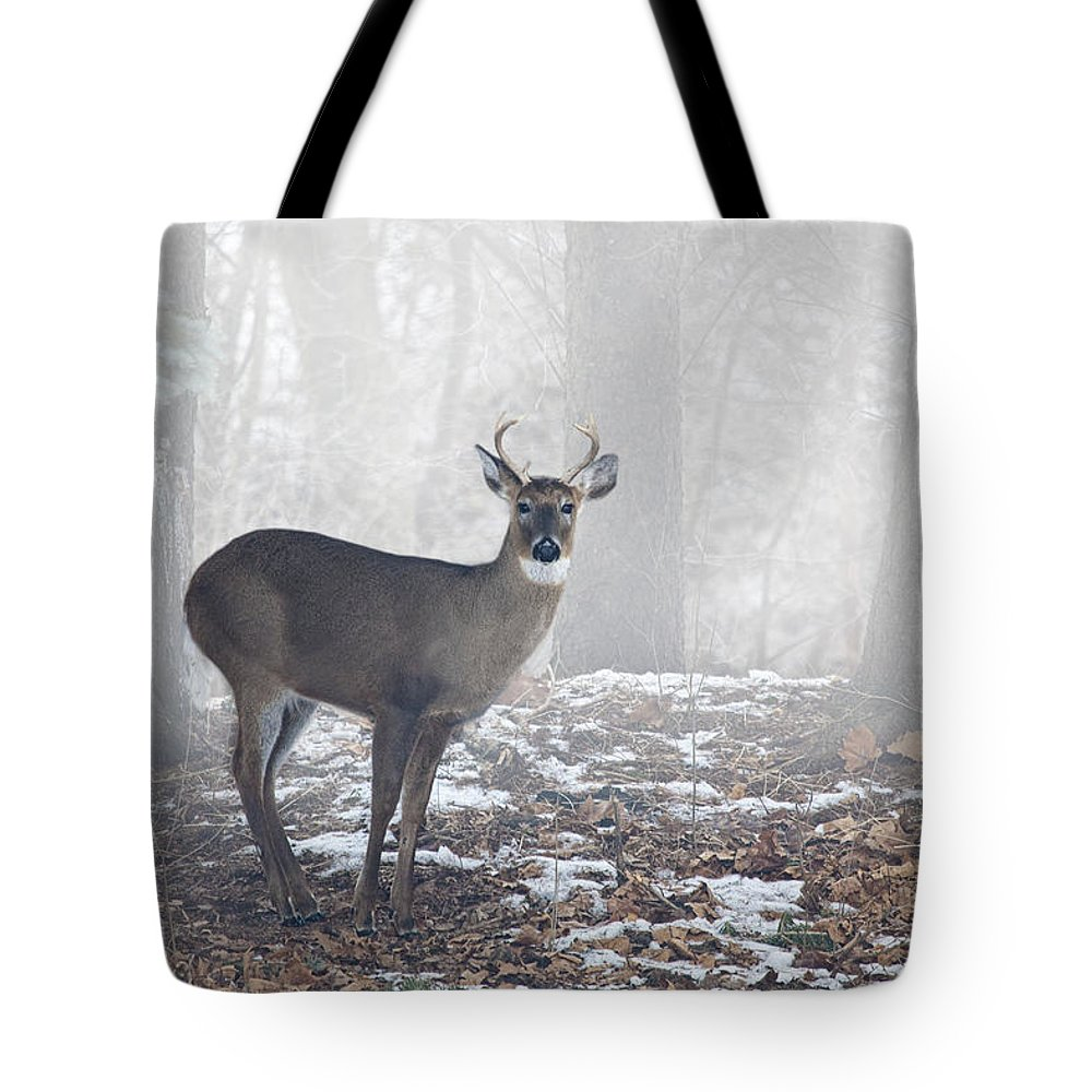 Art Tote Bag featuring the photograph White Tailed Deer Buck In The Mist by Randall Nyhof
