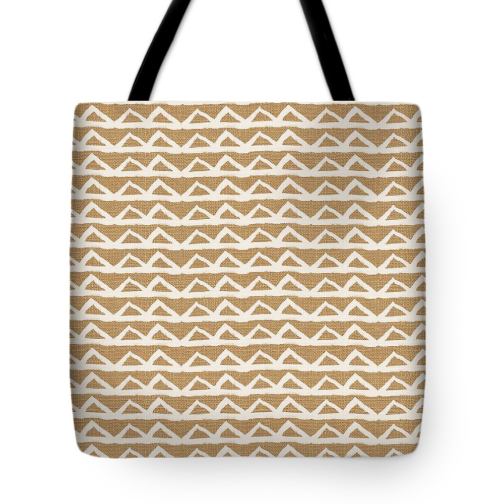 Triangles Tote Bag featuring the mixed media White Triangles on Burlap by Linda Woods