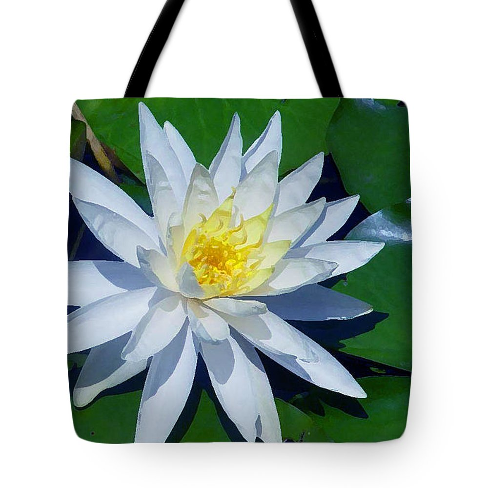 Flowers Tote Bag featuring the photograph White Water Lily by Robert J Sadler