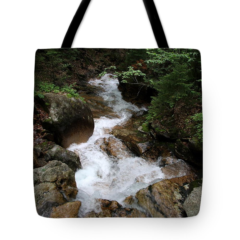 Granite Bolder Tote Bag featuring the photograph White Waters Over Granite Bolder by Christiane Schulze Art And Photography