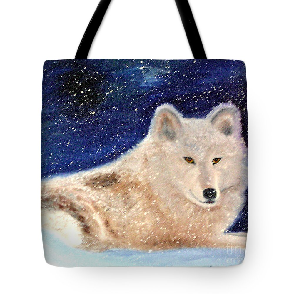 Wolf Tote Bag featuring the painting White Wolf in Winter Blizzard by Lora Duguay