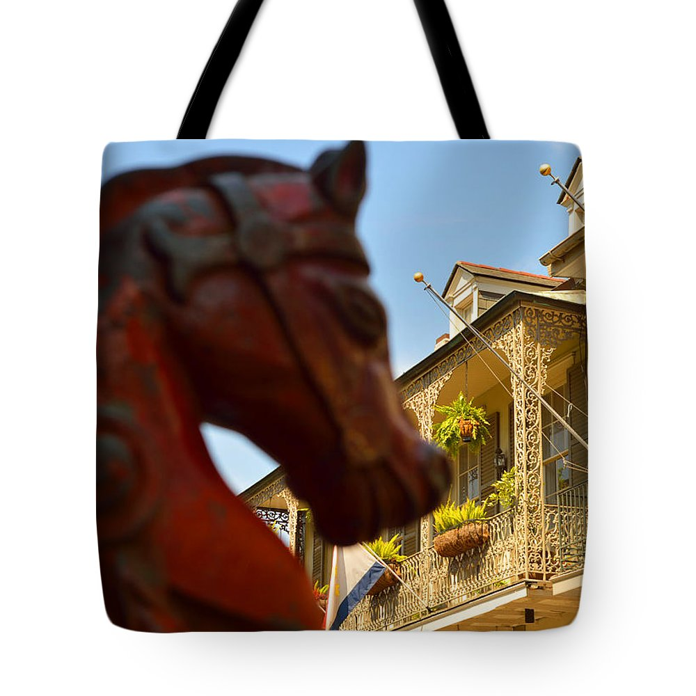 French Quarter Tote Bag featuring the photograph White Wrought Iron by Alys Caviness-Gober