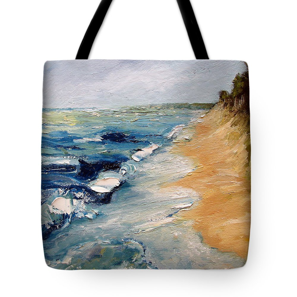 Whitecaps Tote Bag featuring the painting Whitecaps On Lake Michigan 3.0 by Michelle Calkins