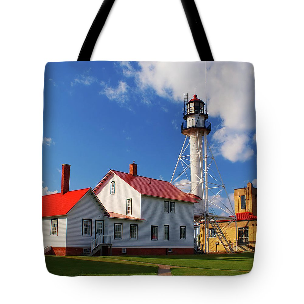 Architecture Tote Bag featuring the photograph Whitefish Point Lighthouse Mi by Nick Zelinsky