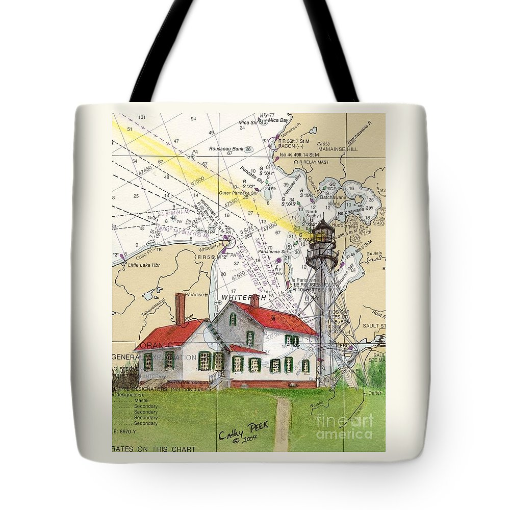 Whitefish Tote Bag featuring the painting Whitefish Pt Lighthouse Mi Nautical Chart Map Art Cathy Peek by Cathy Peek
