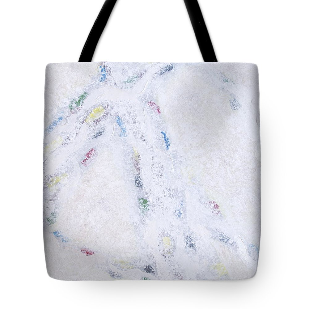 Abstract Tote Bag featuring the painting Whiteout by Cindy Lee Longhini
